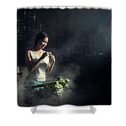 Asian People With Cooking, Living In Rural Countryside, Rural Th Shower Curtain