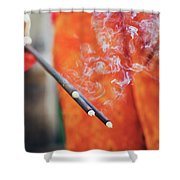 Asian Woman Holding Incense Sticks During Hindu Ceremony In Bali, Indonesia Shower Curtain
