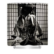 Asian Woman In Kimono Shower Curtain