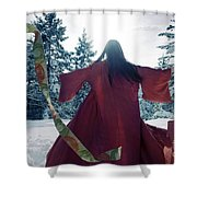 Asian Woman In Red Kimono Dancing In The Snow Spinning Around To Shower Curtain