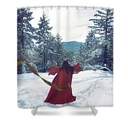 Asian Woman In Red Kimono Dancing On The Snow In The Forest Shower Curtain
