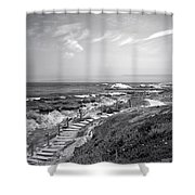 Asilomar Beach Stairway In Black And White Shower Curtain