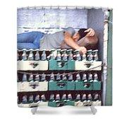 Asleep On The Job Shower Curtain