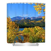 Aspen On Pikes Peak And Crystal Reservoir Shower Curtain