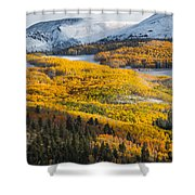 Aspens And Mountains In The Morning Light Shower Curtain