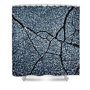 Asphalt Pavement With Cracks On The Surface Shower Curtain