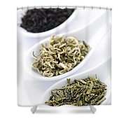 Assortment Of Dry Tea Leaves In Spoons Shower Curtain