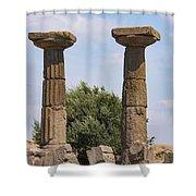 Assos Temple Of Athena Columns Shower Curtain