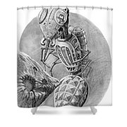 Asteroid Mining Craft Shower Curtain