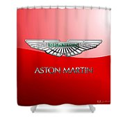 Aston Martin - 3 D Badge On Red Shower Curtain