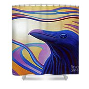 Astral Raven Shower Curtain by Brian  Commerford