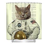 Astronaut Cat Illustration Shower Curtain