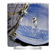 Astronaut In Atmosphere Shower Curtain by Jennifer Rondinelli Reilly - Fine Art Photography