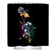 Astronaut Ufo Balloon Outer Space Shuttle  Shower Curtain
