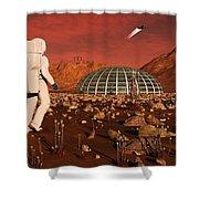 Astronaut Walking Across The Surface Shower Curtain