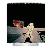 Astronaut With Us Flag On Moon Shower Curtain