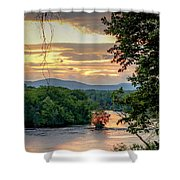 At A Bend In The River Shower Curtain by Kendall McKernon