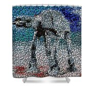 At-at Bottle Cap Mosaic Shower Curtain by Paul Van Scott