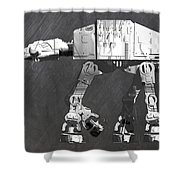 At At Walker From Star Wars Vintage Recycled License Plate Scrap Metal Art Shower Curtain