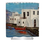 At Home In Greece Shower Curtain