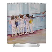 At The Barre Shower Curtain by Julie Todd-Cundiff