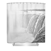 At The Edge Of Horseshoe Falls In Black And White Shower Curtain