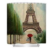 At The Eiffel Tower Shower Curtain