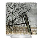 At The End...fence Post Shower Curtain by Stephanie Calhoun