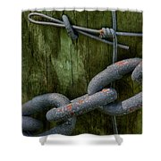 At The Fence Gate - Chain, Wire, And Post Shower Curtain
