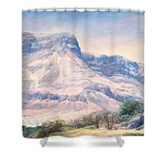 At The Foot Of Mountains Shower Curtain