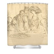 At The Gambling Table (second Plate) Shower Curtain