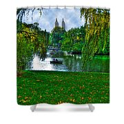 At The Lake In Central Park Shower Curtain