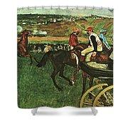 At The Races, Digitally Enhanced, Edgar Degas, Digitally Enhanced Maximum Resolution Shower Curtain