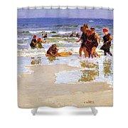 At The Seashore Edward Henry Potthast Shower Curtain