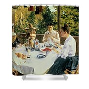 At The Tea-table Shower Curtain
