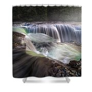 At The Top Of Lower Lewis River Falls Shower Curtain