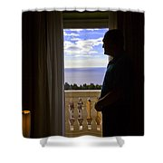 At The Window In Taormina Shower Curtain