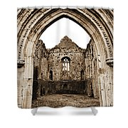 Athassel Priory Tipperary Ireland Medieval Ruins Decorative Arched Doorway Into Great Hall Sepia Shower Curtain