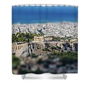 Athens, Greece. Athens Acropolis And City Aerial View From Lycavittos Hill Shower Curtain