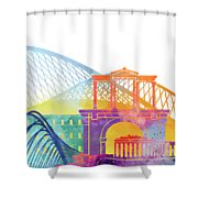 Athens Landmarks Watercolor Poster Shower Curtain