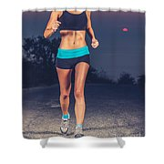 Athletic Woman Jogging Outdoors Shower Curtain