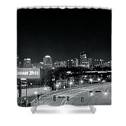 Atlanta Black And White Panorama Shower Curtain
