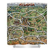 Atlanta Cartoon Map Shower Curtain