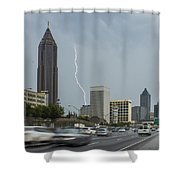 Atlanta Daytime Lightning Shower Curtain