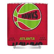 Atlanta Hawks Vintage Basketball Art Shower Curtain