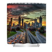 Atlanta Nite Lights Atlanta Downtown Cityscape Art Shower Curtain