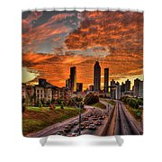 Atlanta Orange Clouds Sunset Capital Of The South Shower Curtain