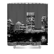 Atlanta Skyline At Night Downtown Midtown Black And White Bw Panorama Shower Curtain