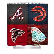 Atlanta Sports Fan Recycled Vintage Georgia License Plate Art Braves Hawks Falcons Plus State Map Shower Curtain