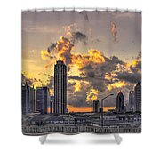 Atlanta Sunrise On Atlantic Station Commons And Midtown Atlanta Shower Curtain by Reid Callaway